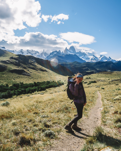 girl on hikes in el chalten patagonia itinerary
