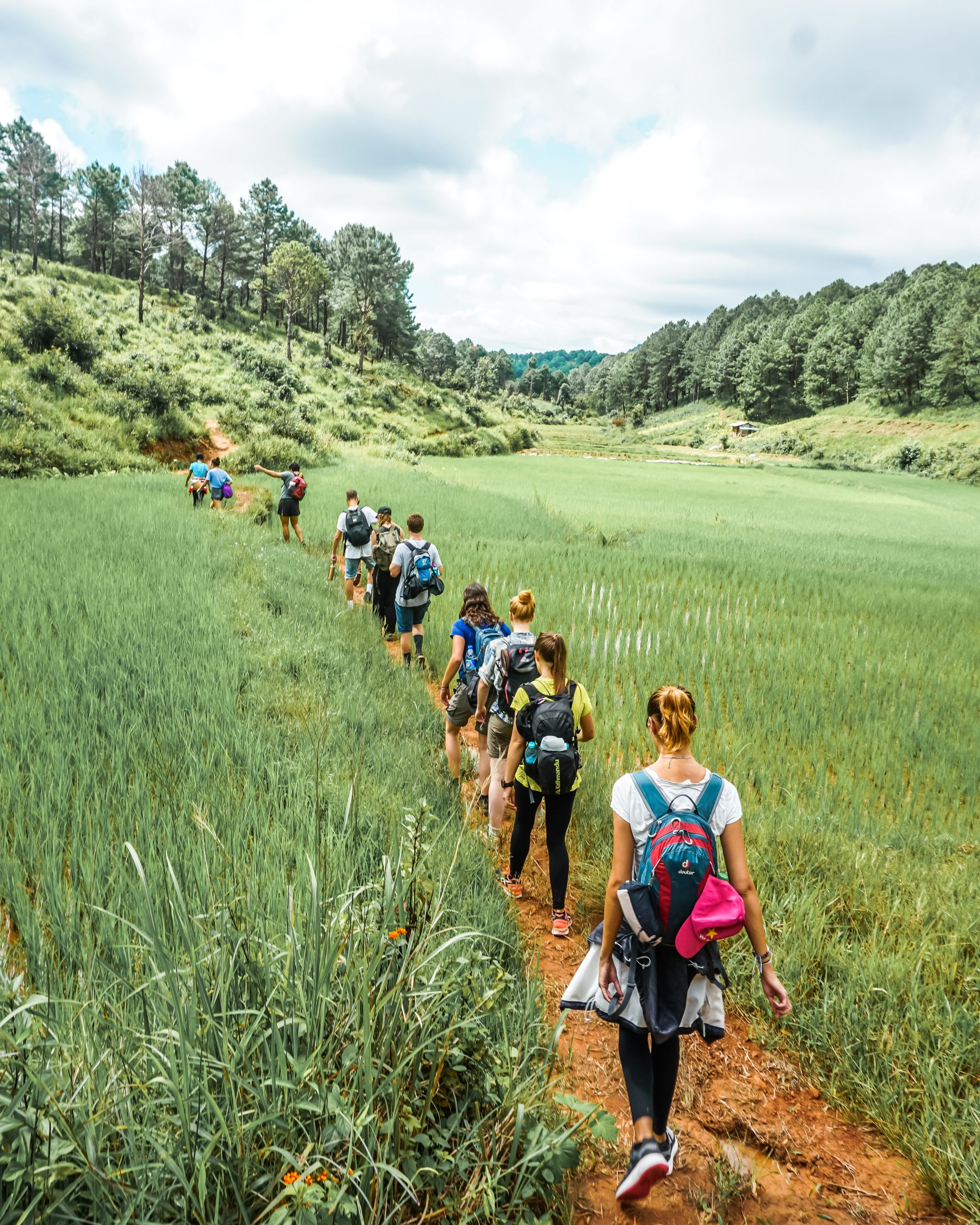 group of hikers hiking from kalaw to inle lake myanmar