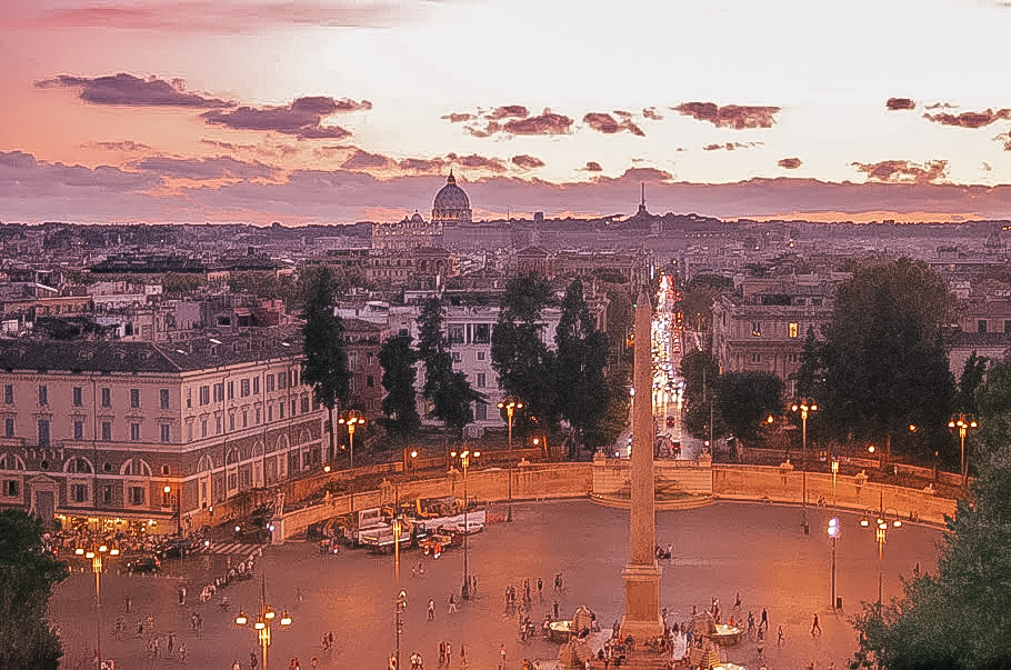 Piazza del Popolo at sunset - 24 hours in Rome