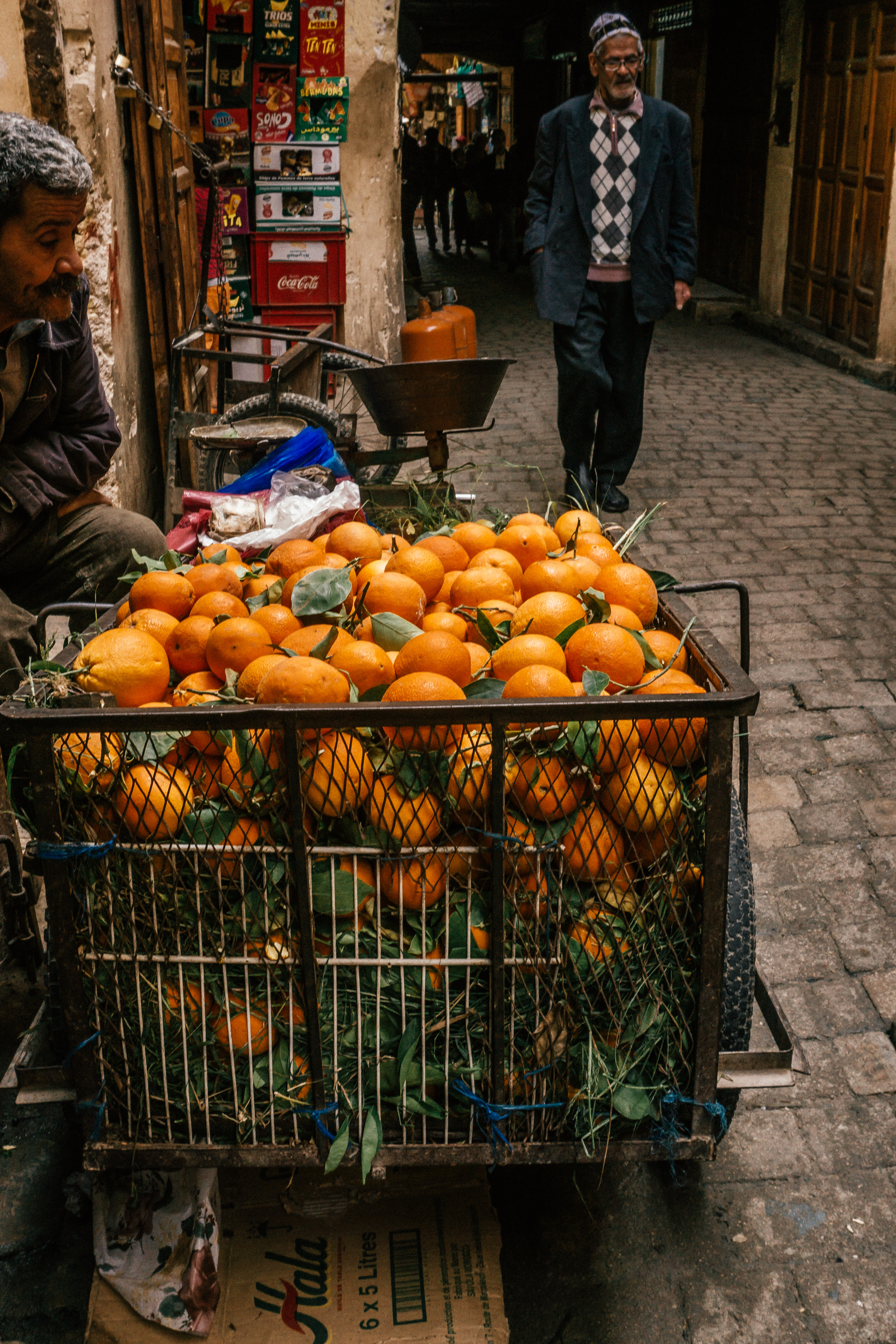 Fresh orange carts in the Medina (Fes, Morocco)