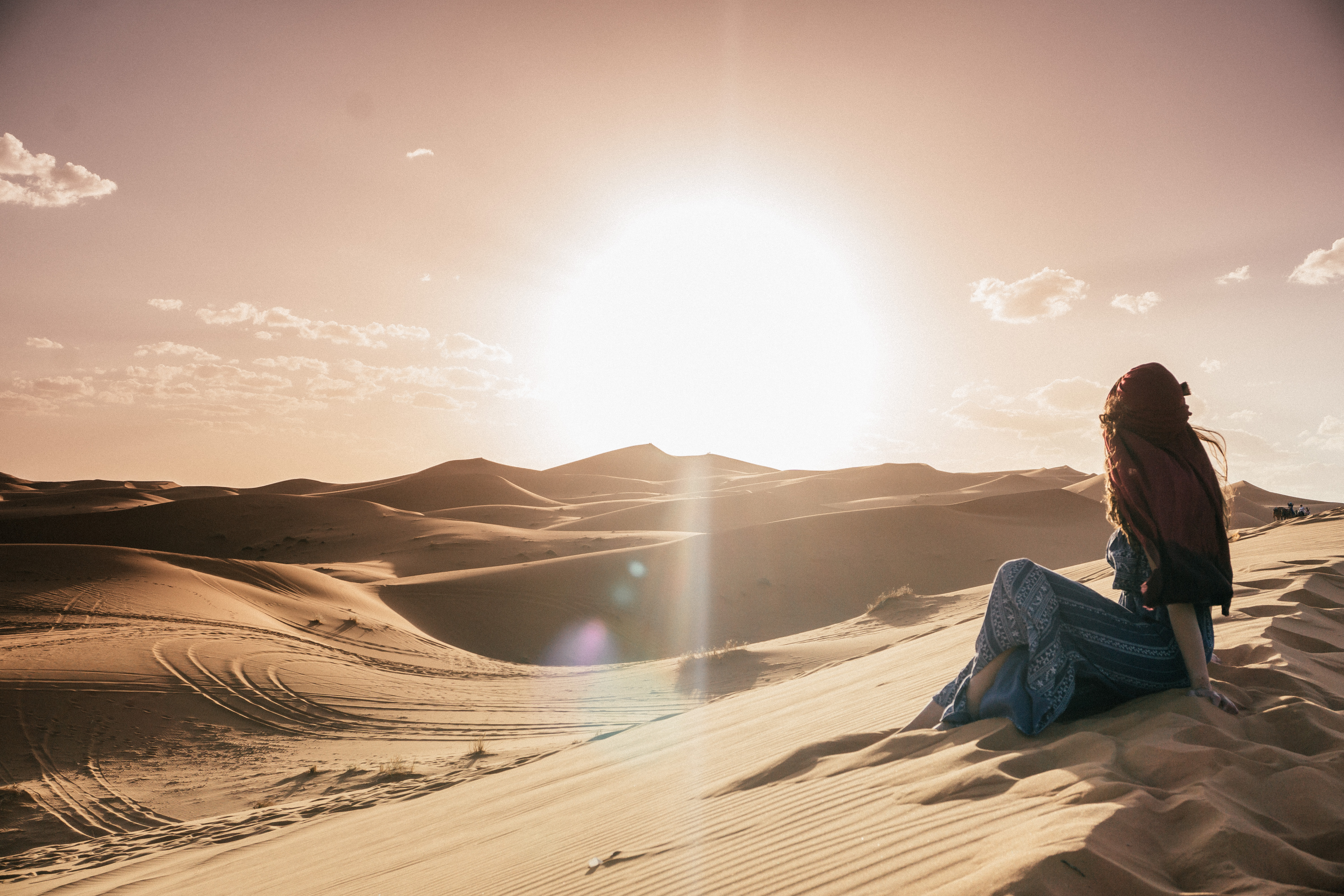 The beautiful sand dunes in Merzouga at sunset - camel riding in the sahara desert