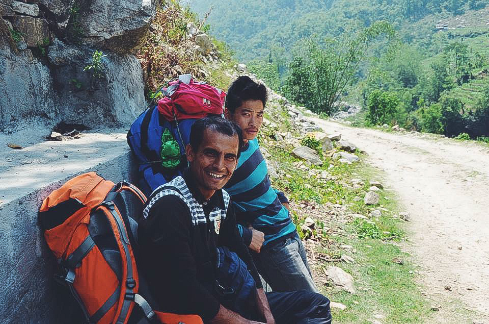 Hiking to Annapurna Base Camp Trek - Our guide and porter