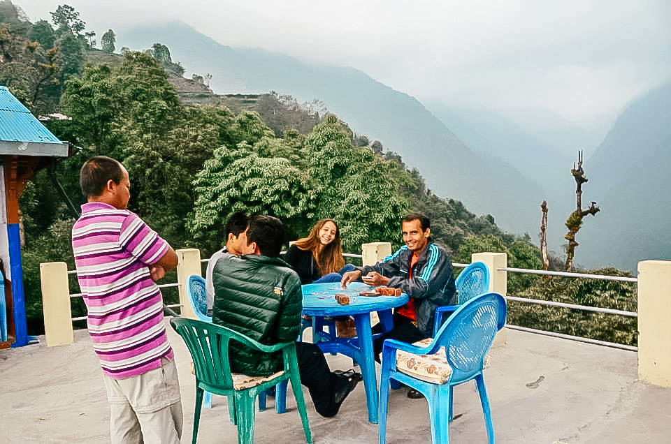 Hiking to Annapurna Base Camp Trek - Nepal - Playing Cards with Local Guides