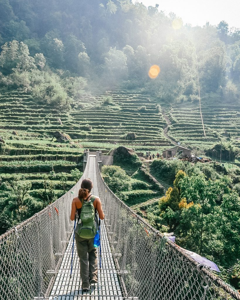 Walking Across the Bridge in Nepal