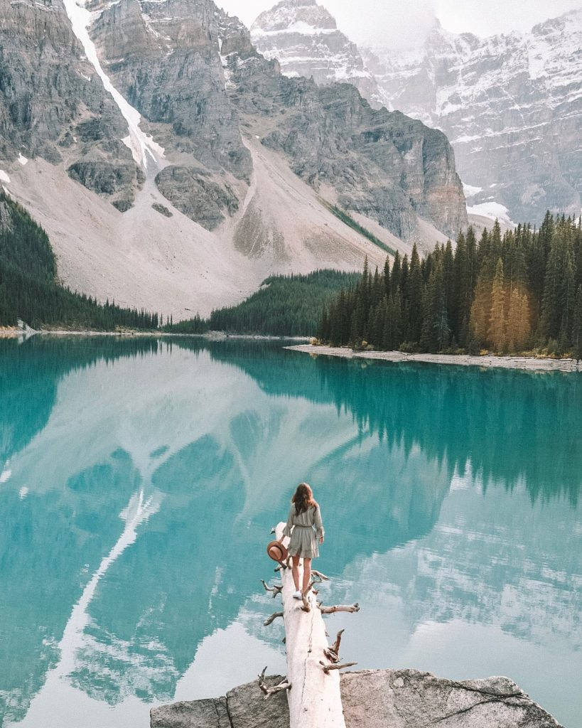 a girl at moraine lake at banff national park