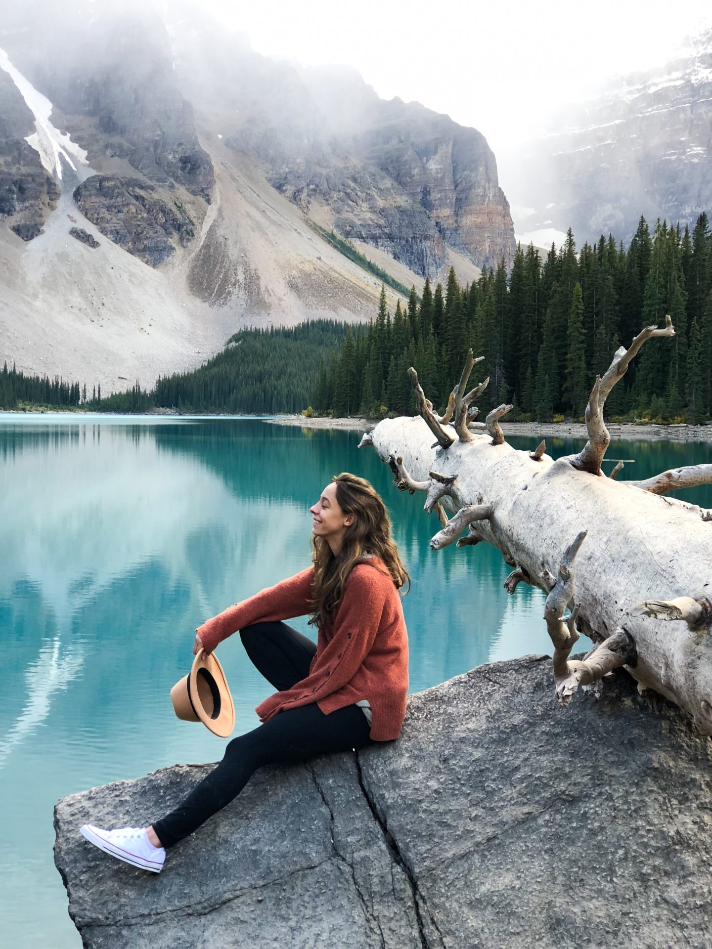 girl in sweater at moraine lake b