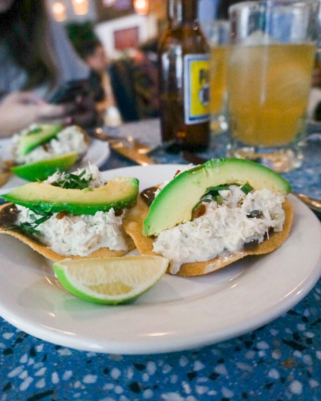 crab tostadas from contramar, mexico city