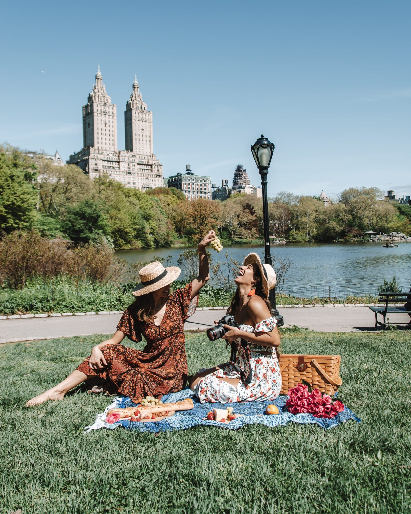 Two bloggers having a picnic in Central Park