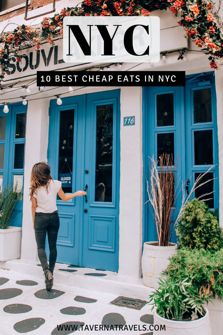 Pinterest graphic for best cheap eats in NYC blog post