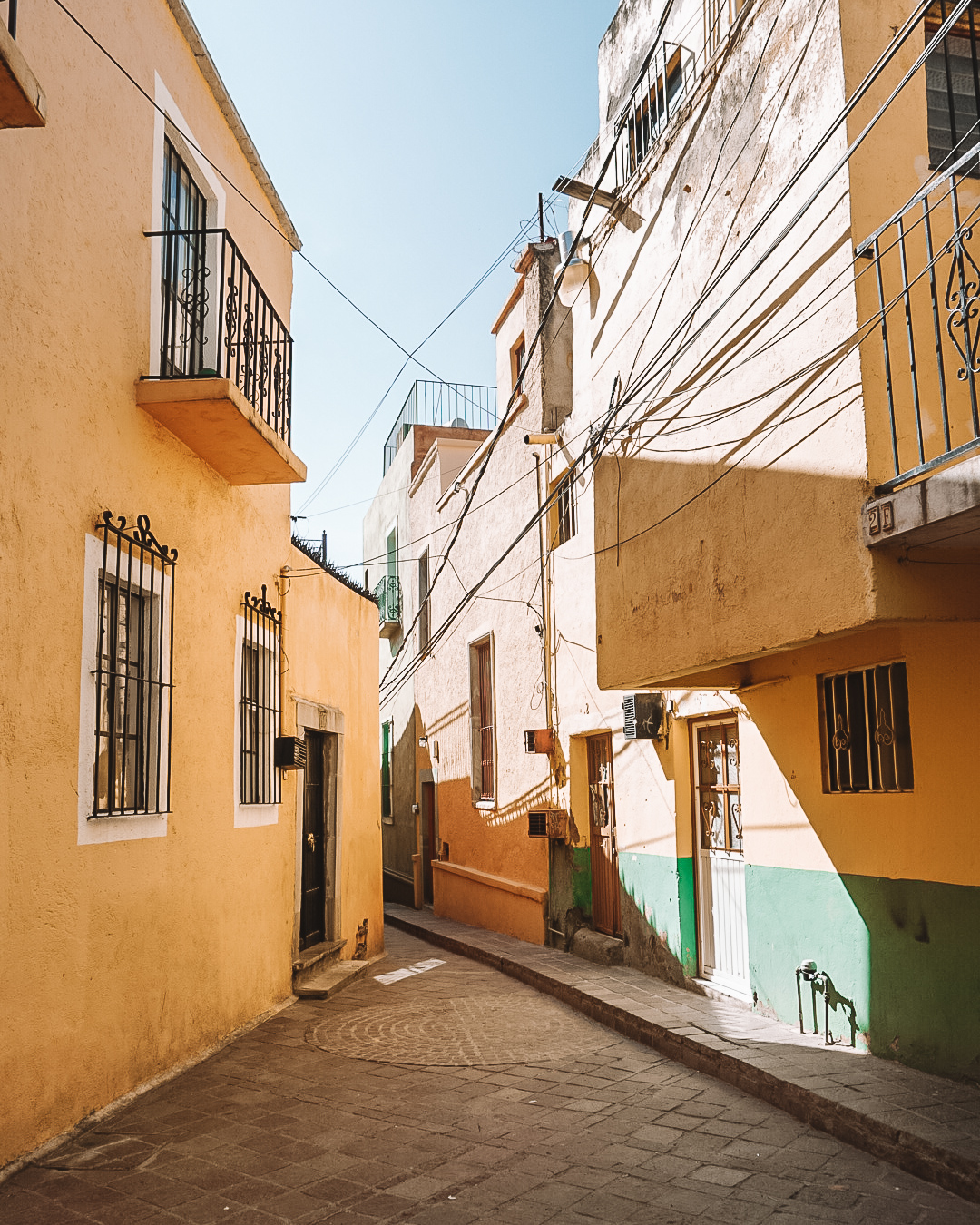 Yellow street in Guanajuato City, Mexico