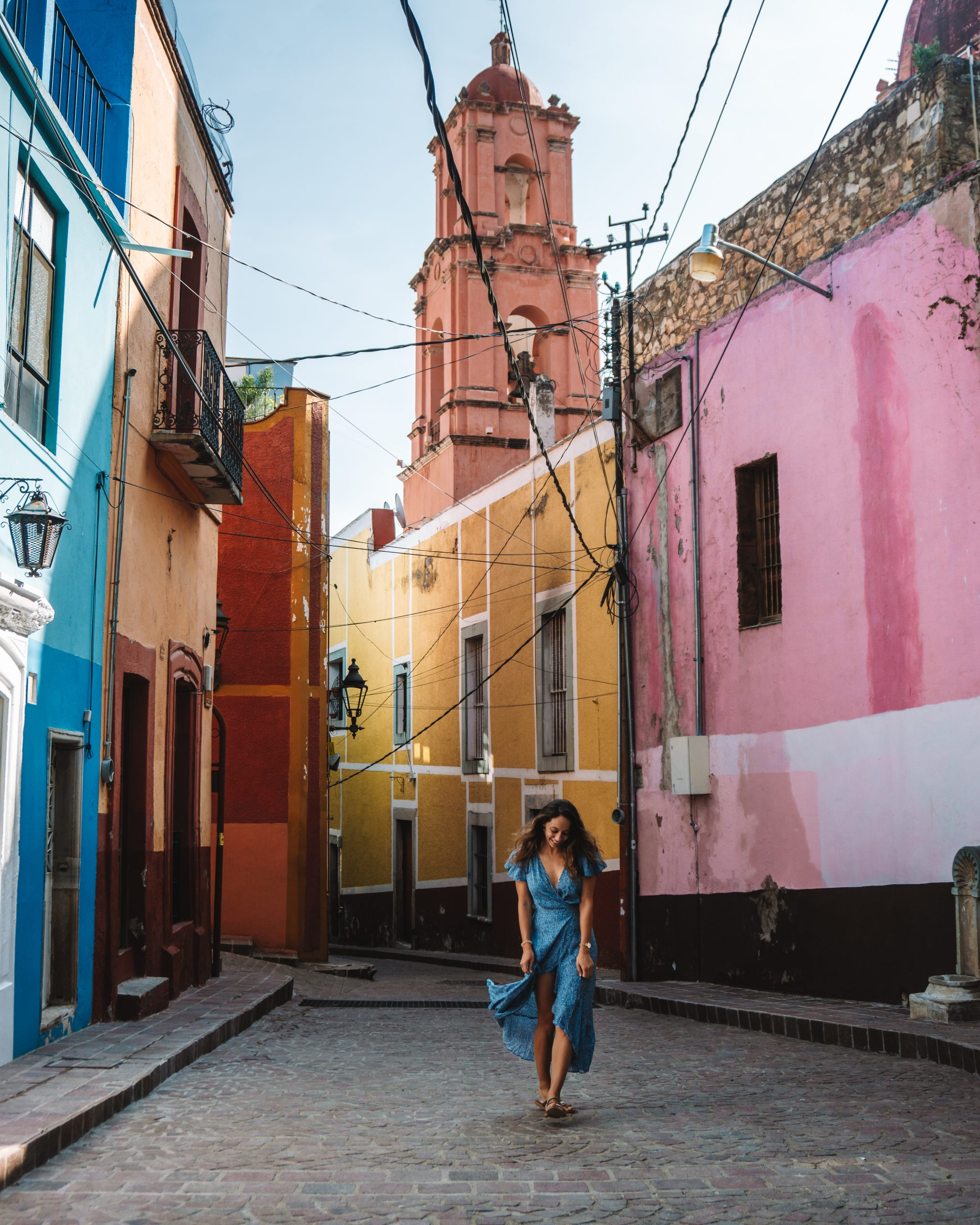 Girl in blue dress in Guanajuato Mexico