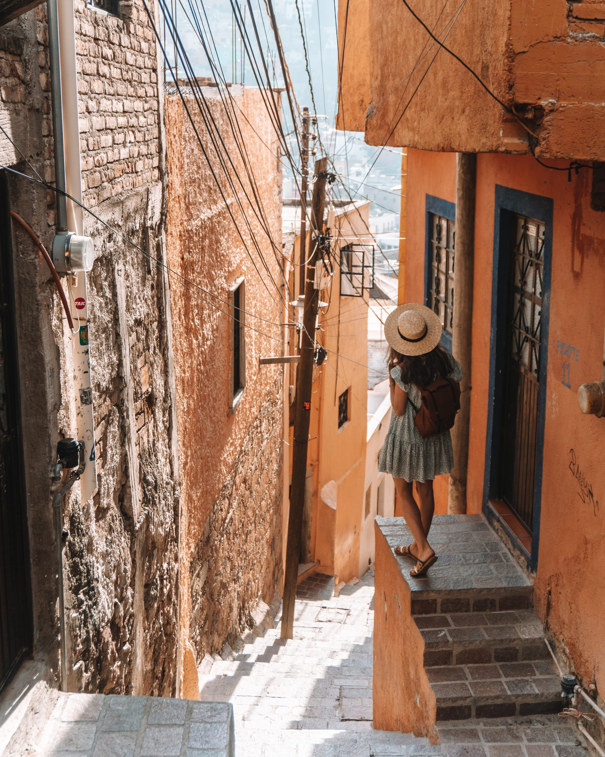 Girl with backpack in Guanajuato City