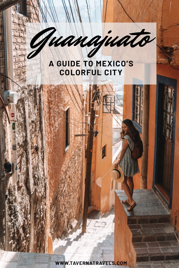 Colorful Guanajuato City with girl with backpack
