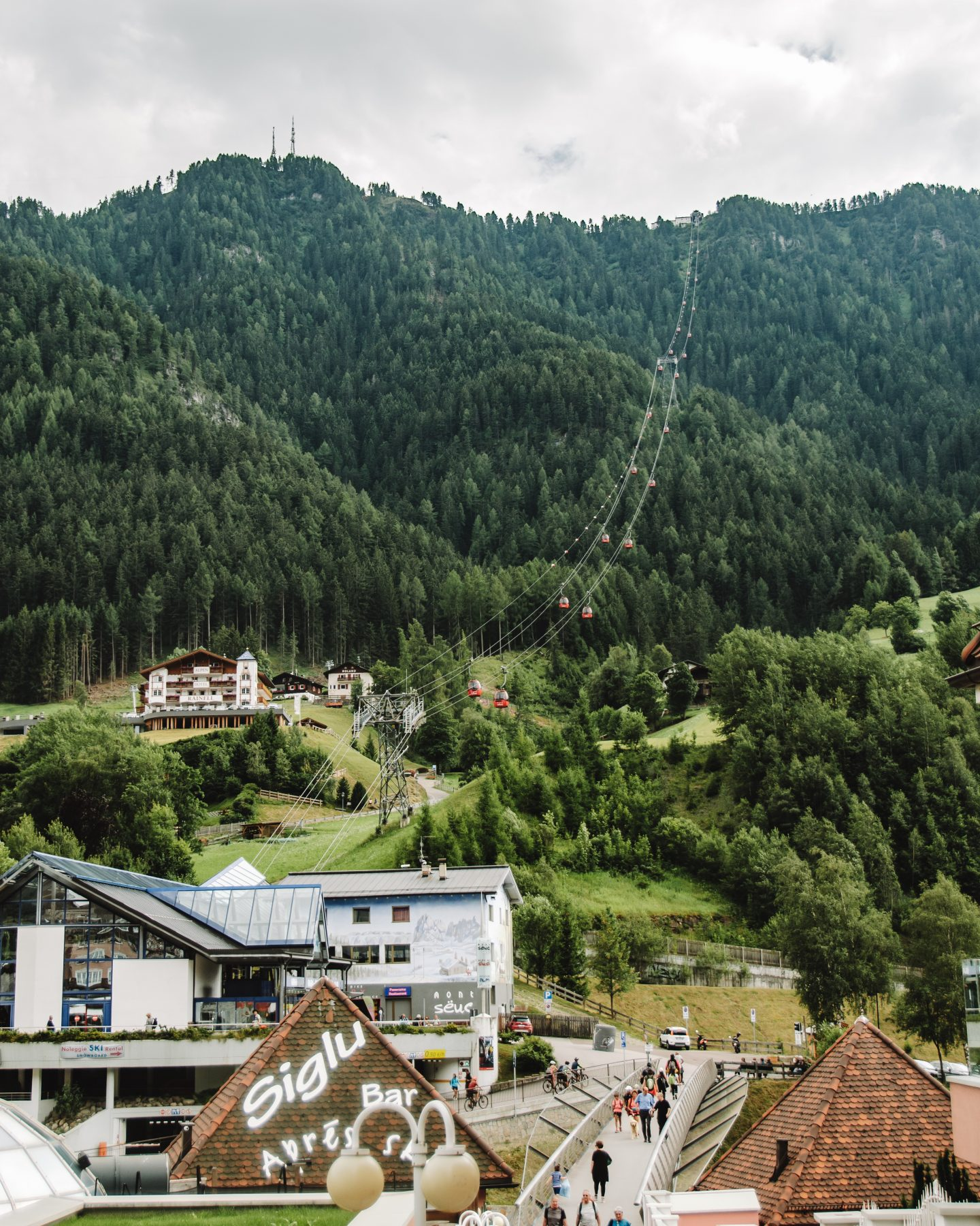 Gondola to Seceda on a road trip in the Dolomites