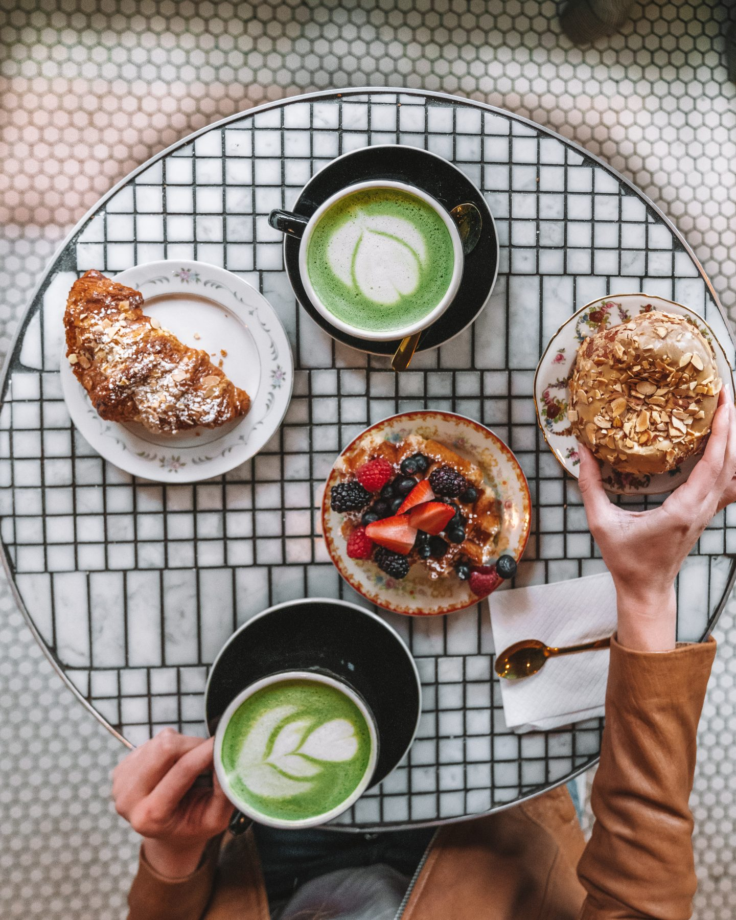 Brunch at Black Star Bakery with oat milk matcha lattes, donuts, and berry waffles