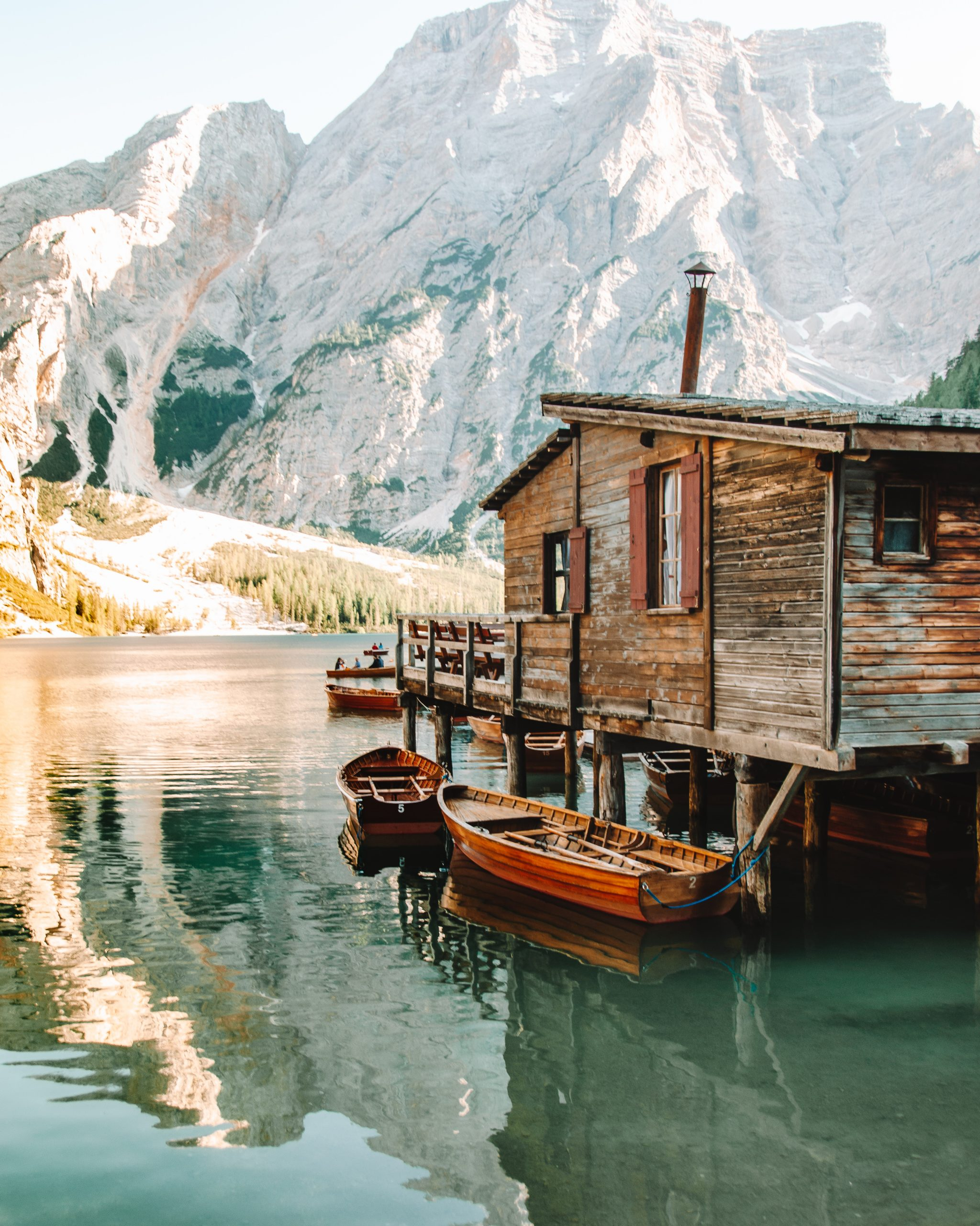 Boat house at Lago di Braies - Dolomites, Italy
