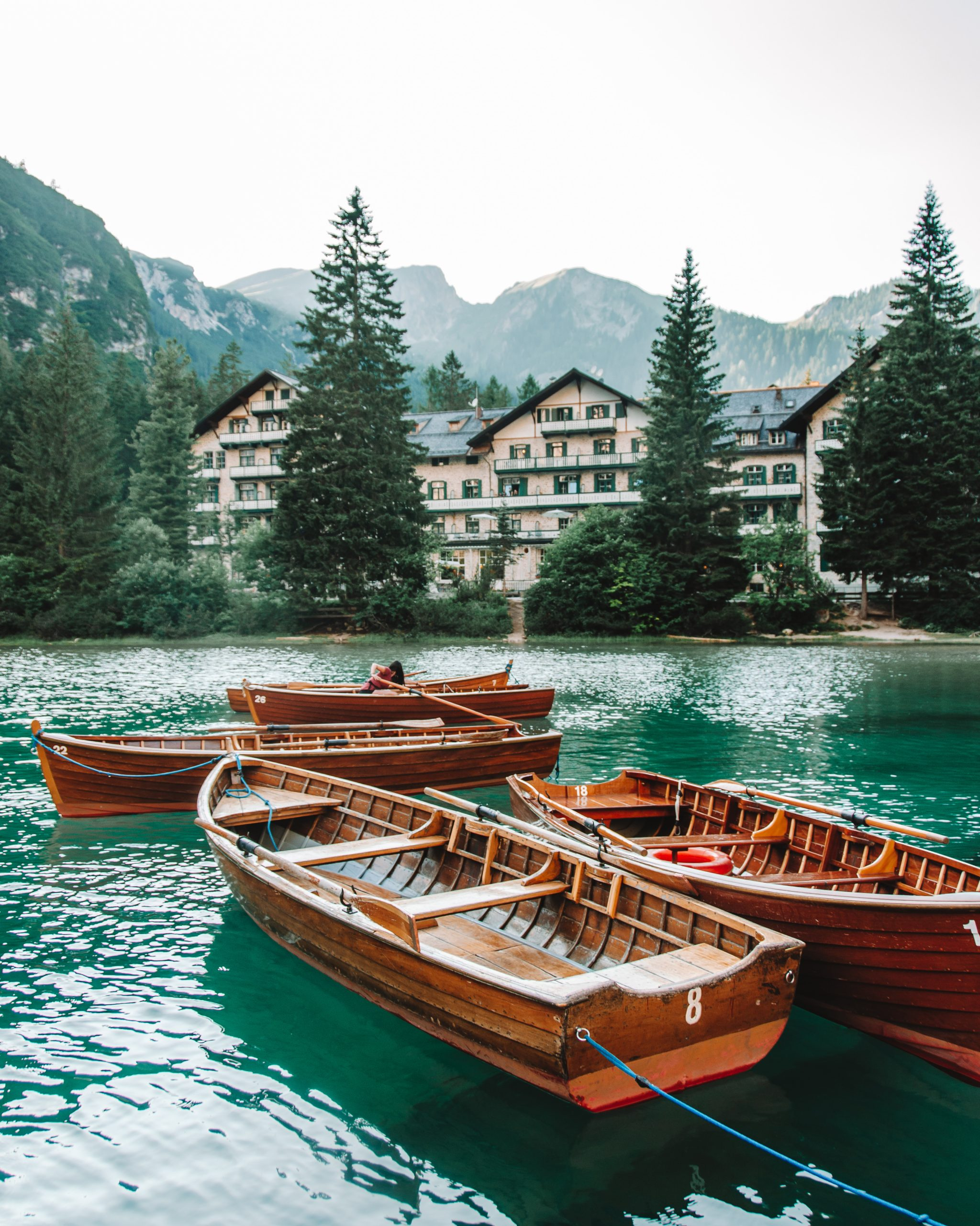 Boats at Lago di Braies in Dolomites, Italy