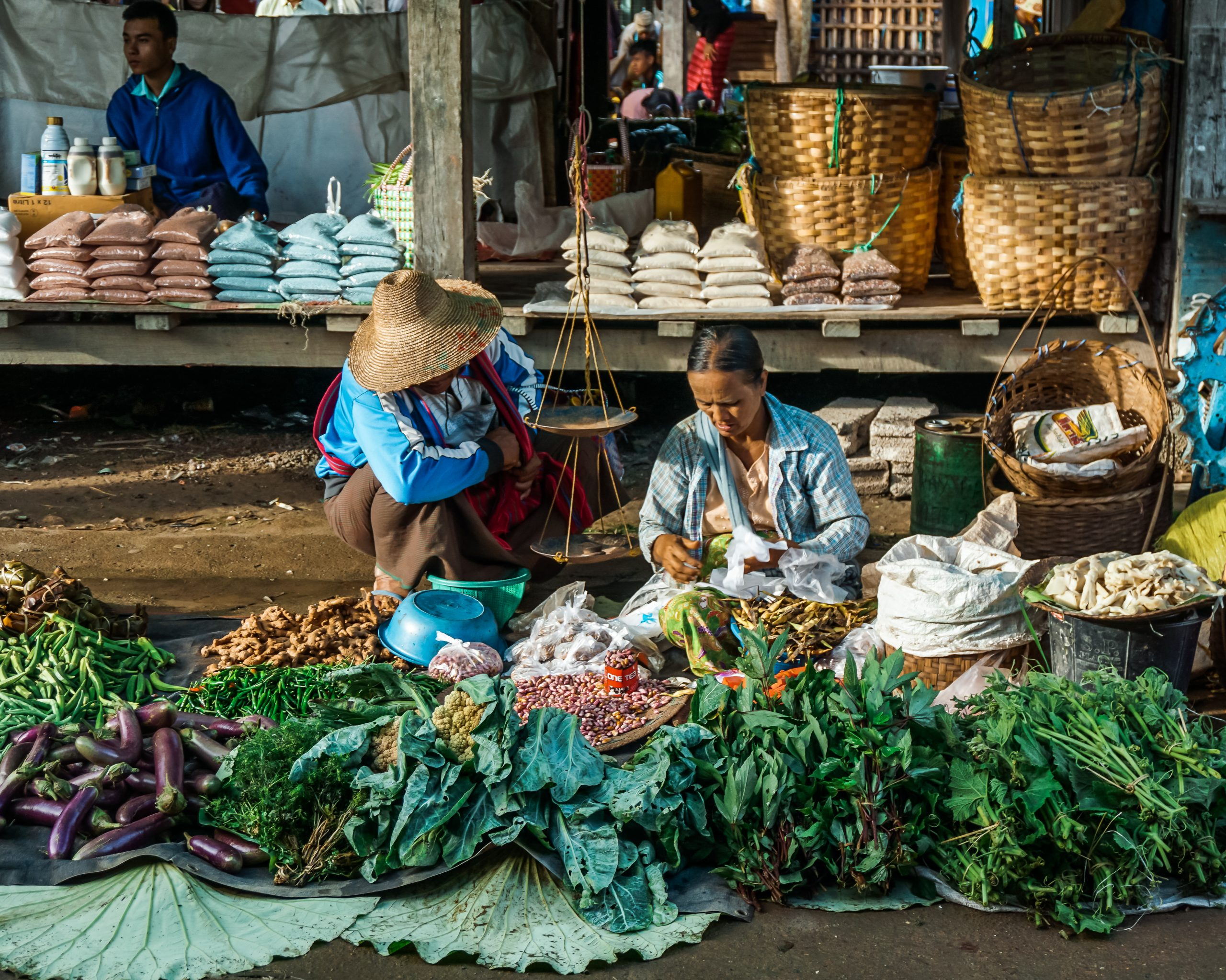 local woman at the five day market in inle lake myanmar