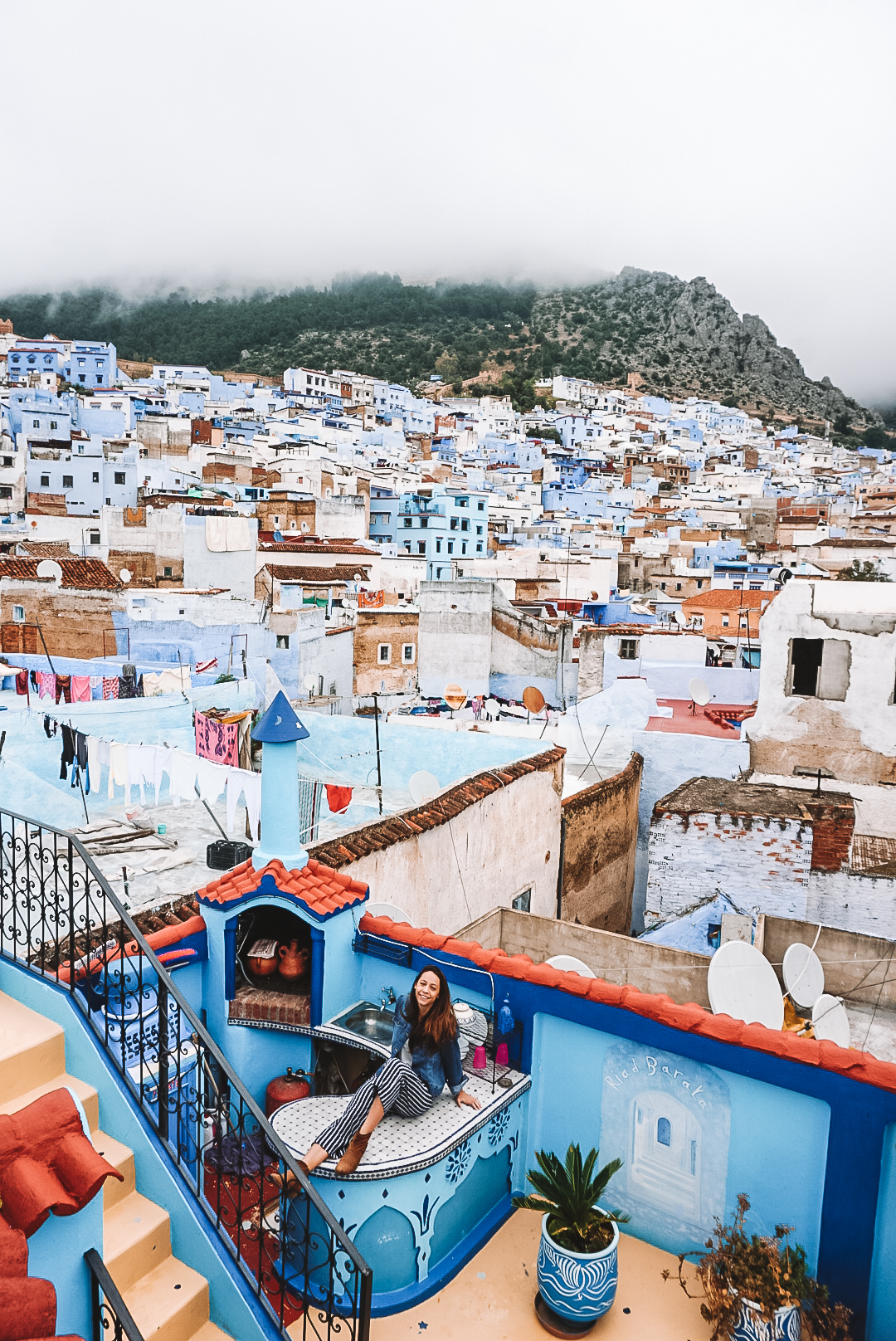 chefchaouen rooftops from above
