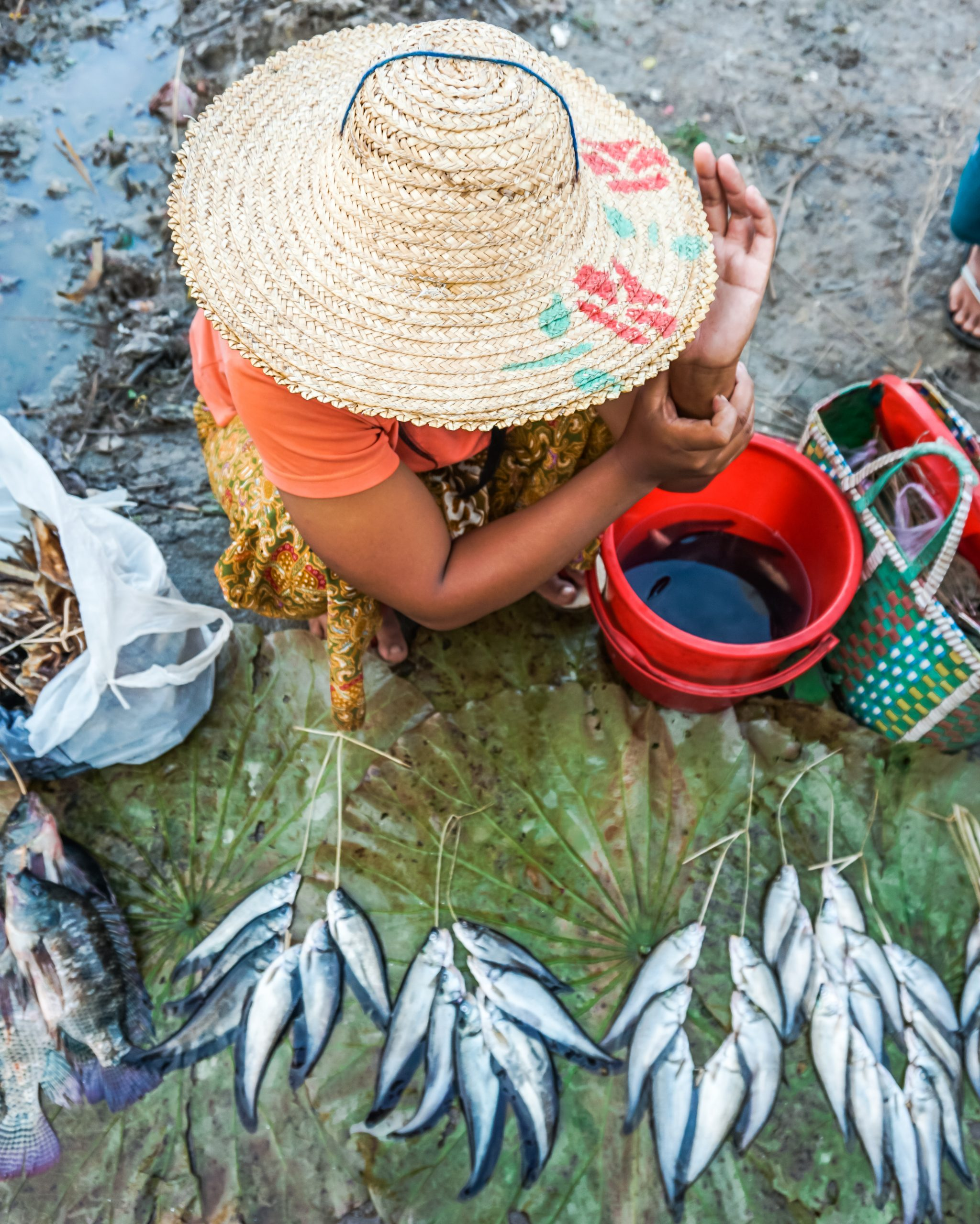 woman selling fish at the five day market in inle lake myanmar