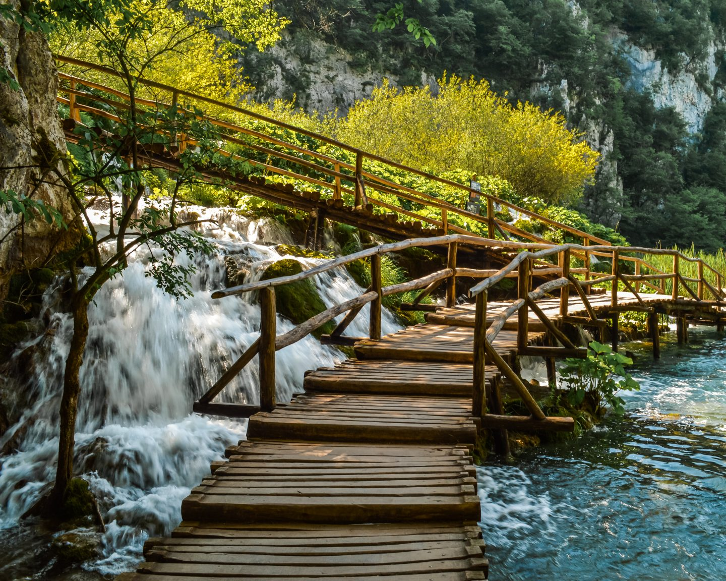 bridge over water at lakes in croatia
