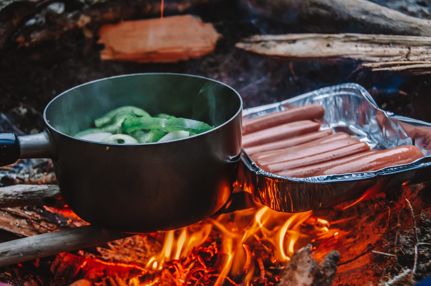 camp food on the fire, camping in the adirondacks
