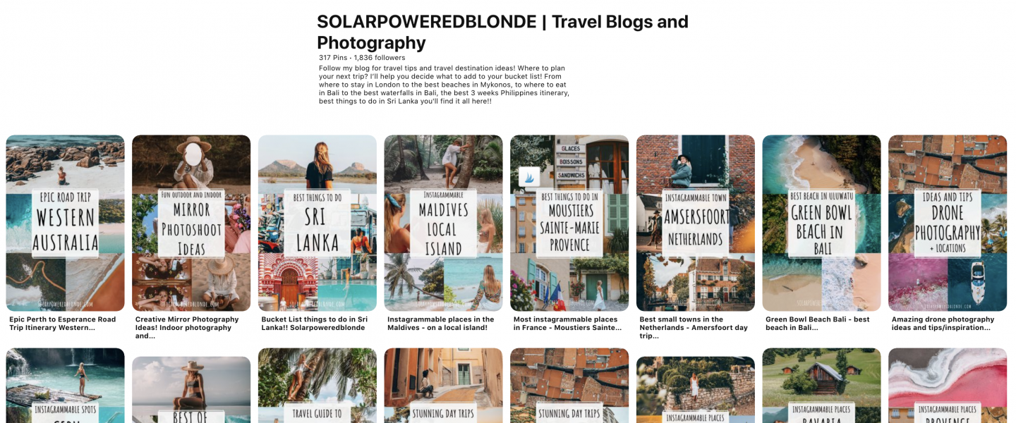 solarpoweredblonde uses pinterest to boost posts on her travel blog