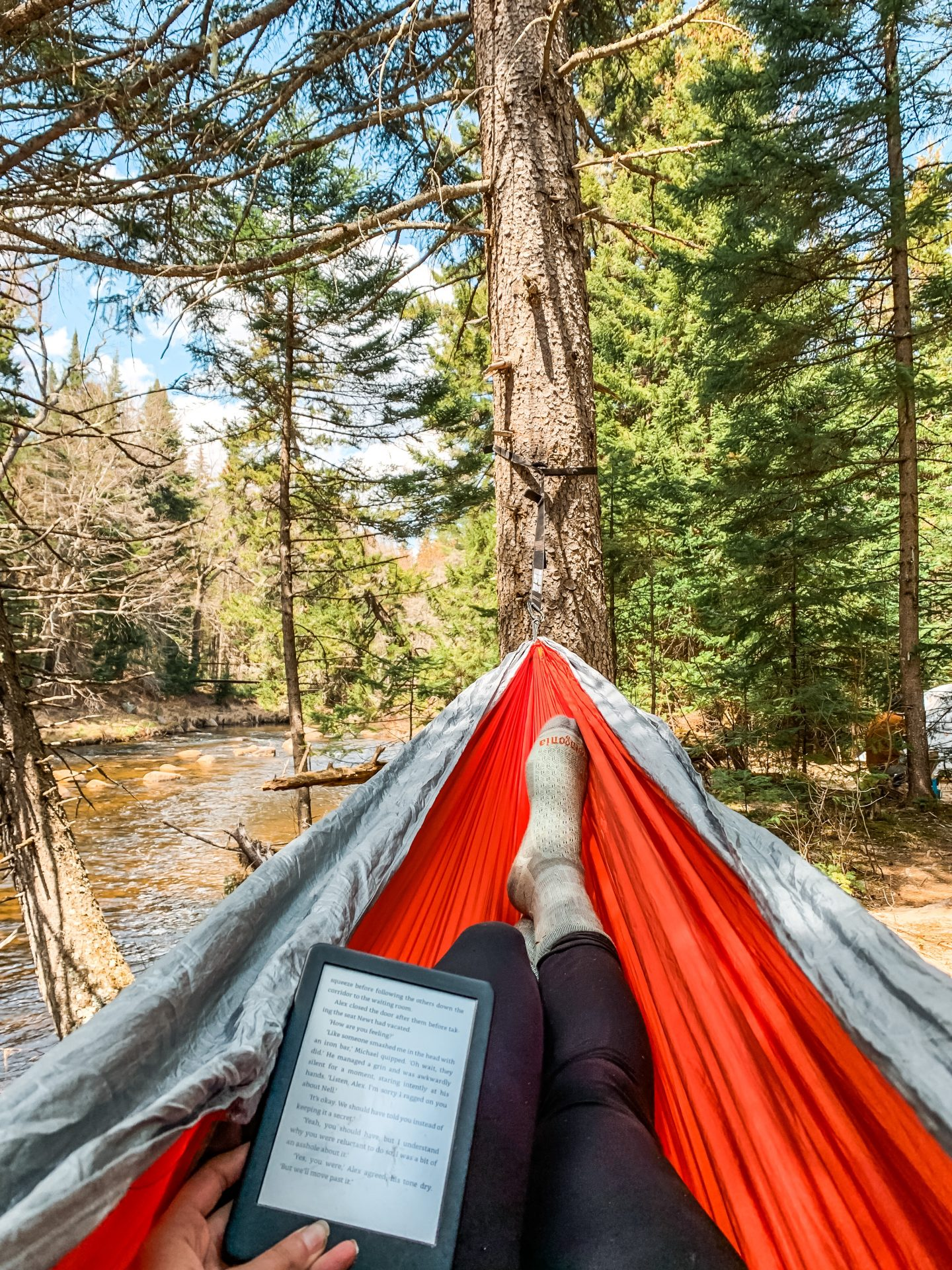 reading in a hammock in the Siamese Ponds Wilderness