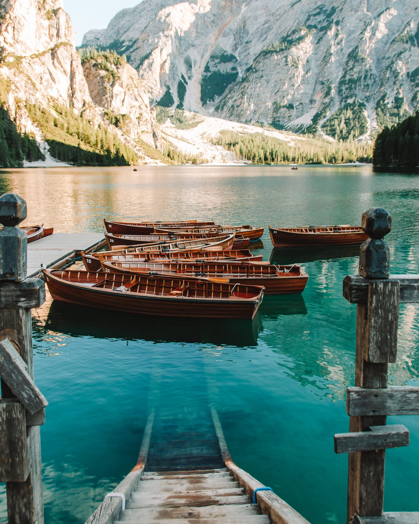 boats in the water at lake braies