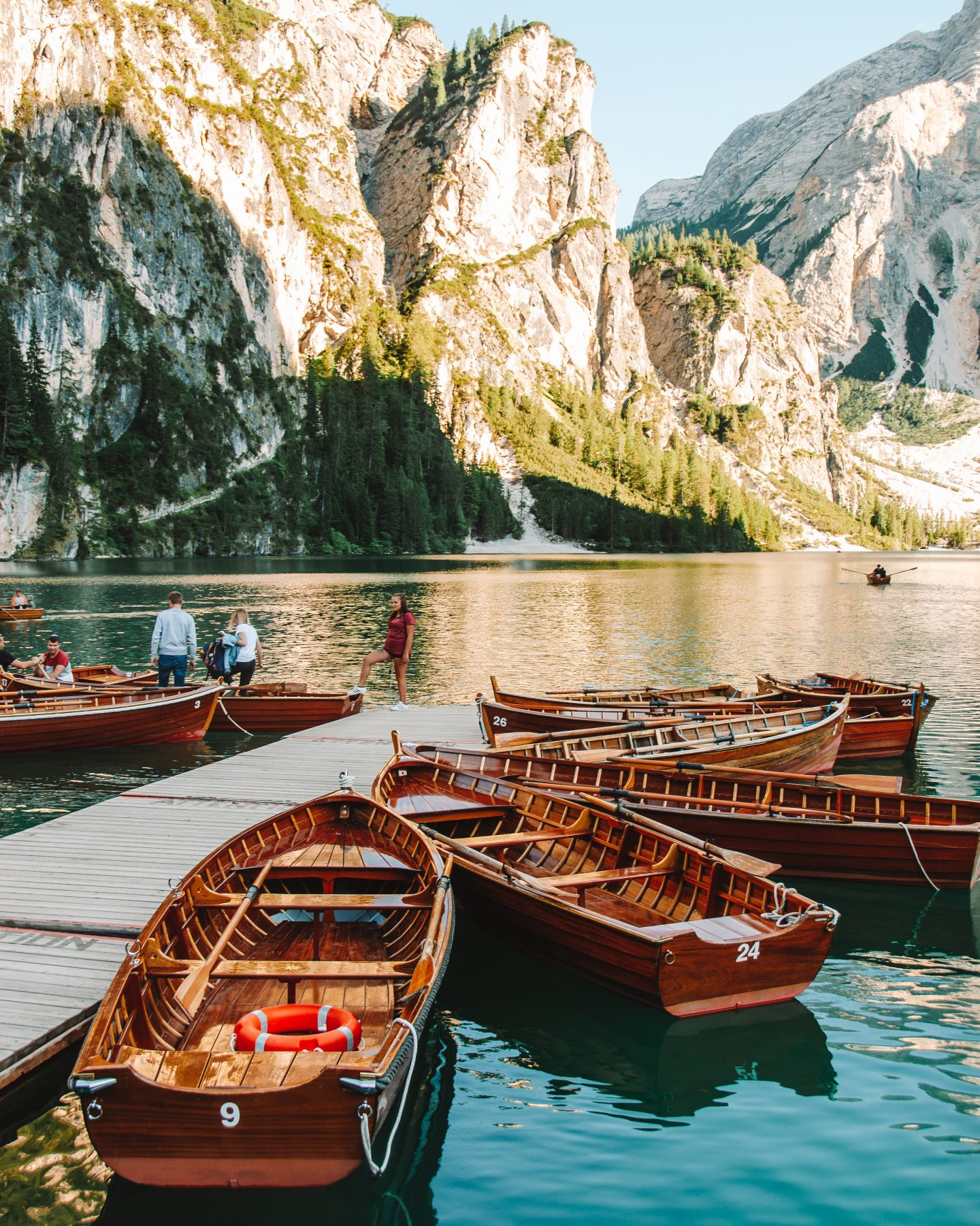 boats for rent at lago di braies italy