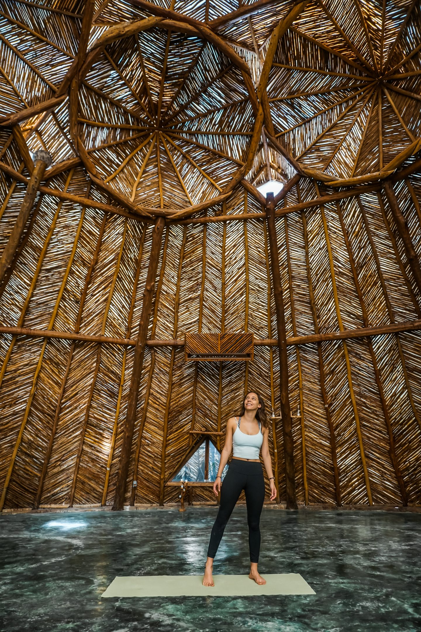 yoga at azulik yoga dome