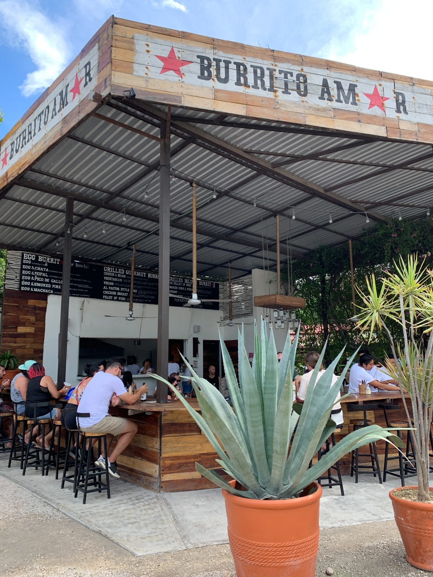 lunch at burrito amor in tulum, mexico
