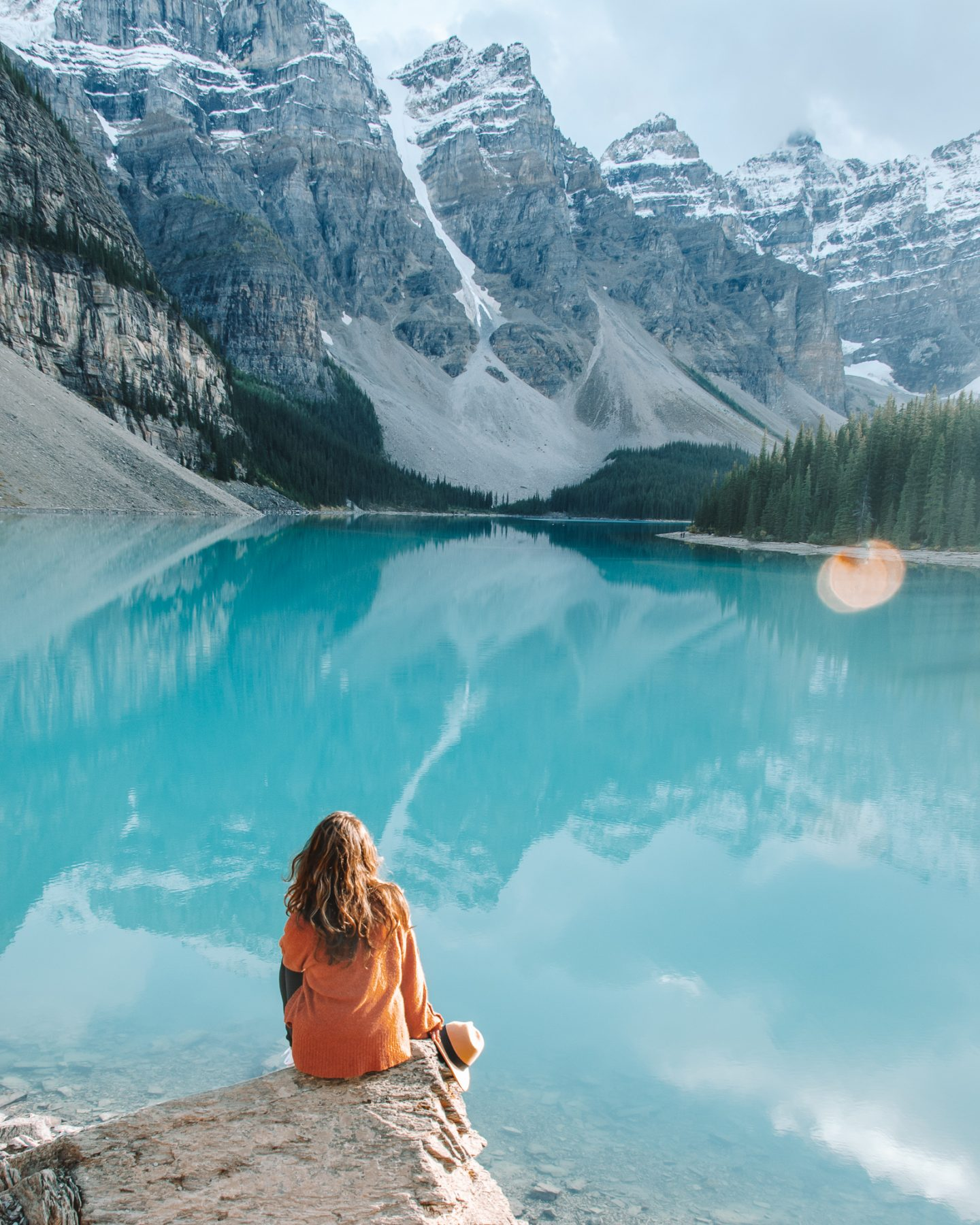 girl at lake in banff national park