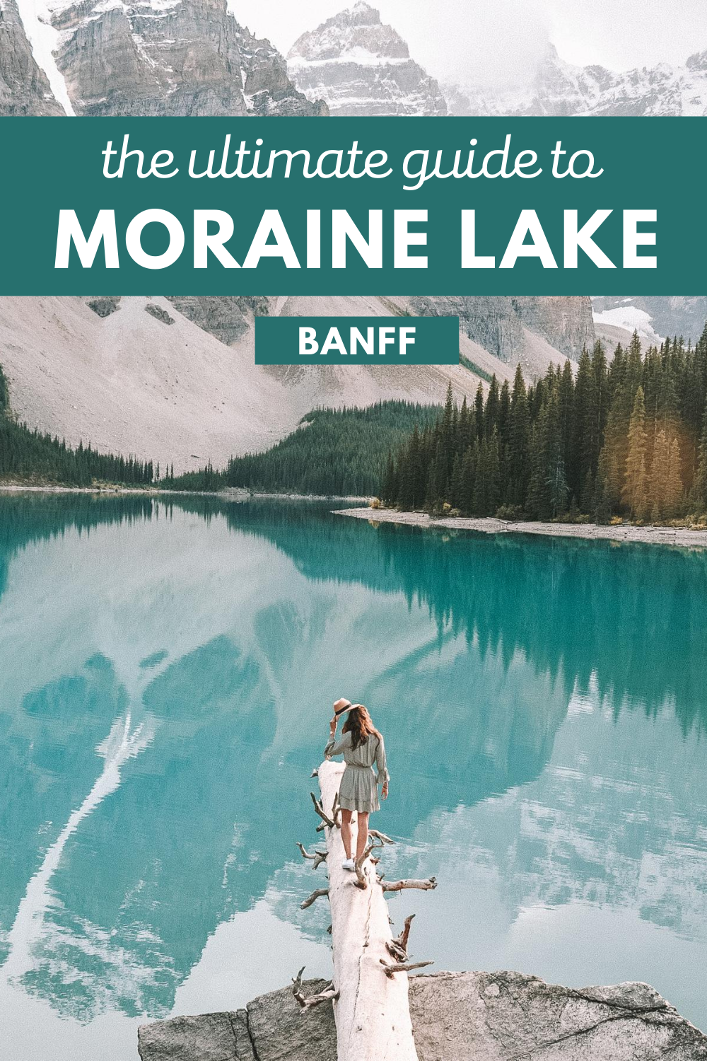 girl on log at moraine lake banff national park canada pin