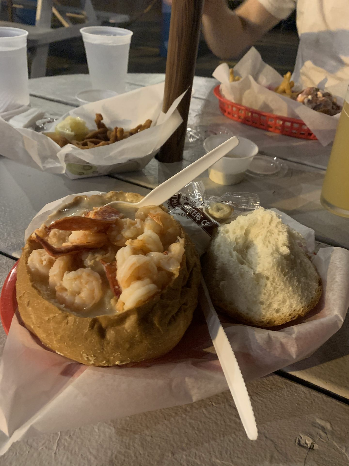 super seafood chowder in a bread bowl from gilberts chowder house