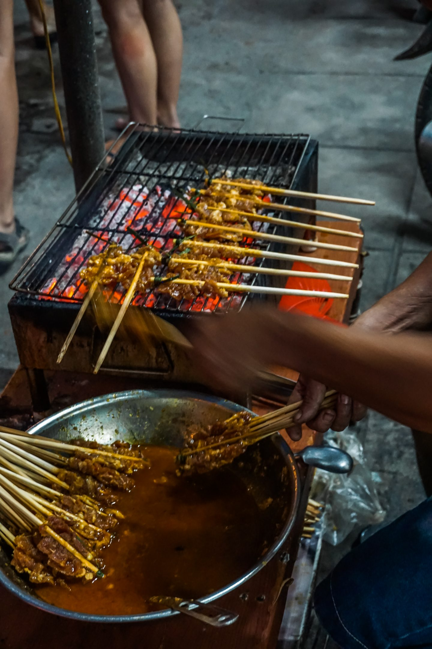 enjoying street food in Hanoi as a solo traveler