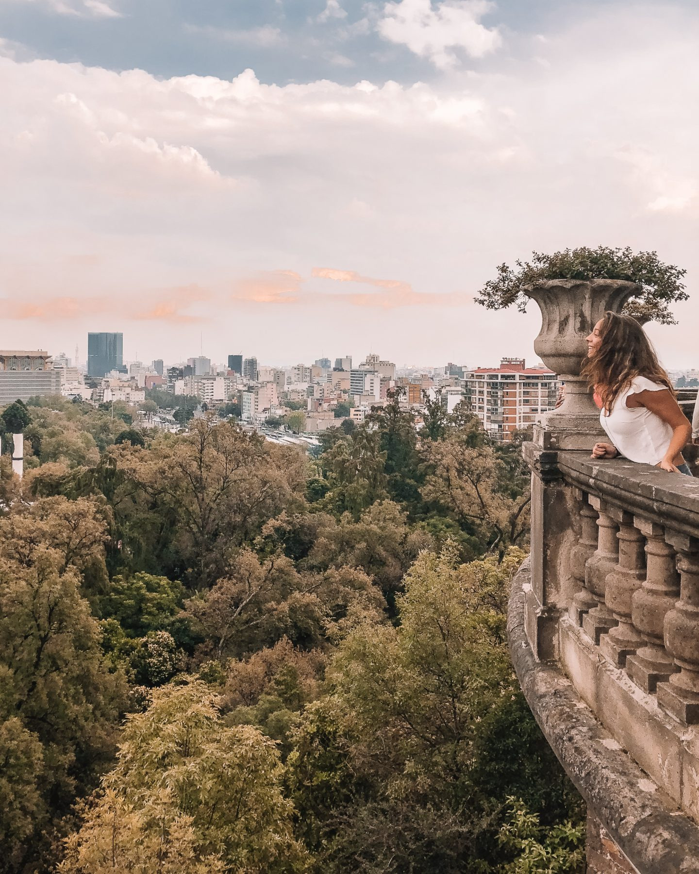 girl in mexico city at sunset