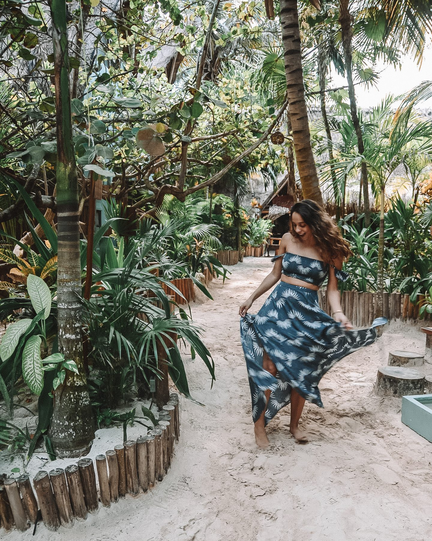 girl twirling in the jungles of tulum