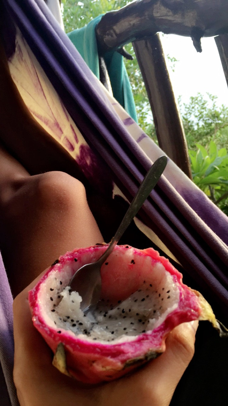 eating dragon fruit in thailand