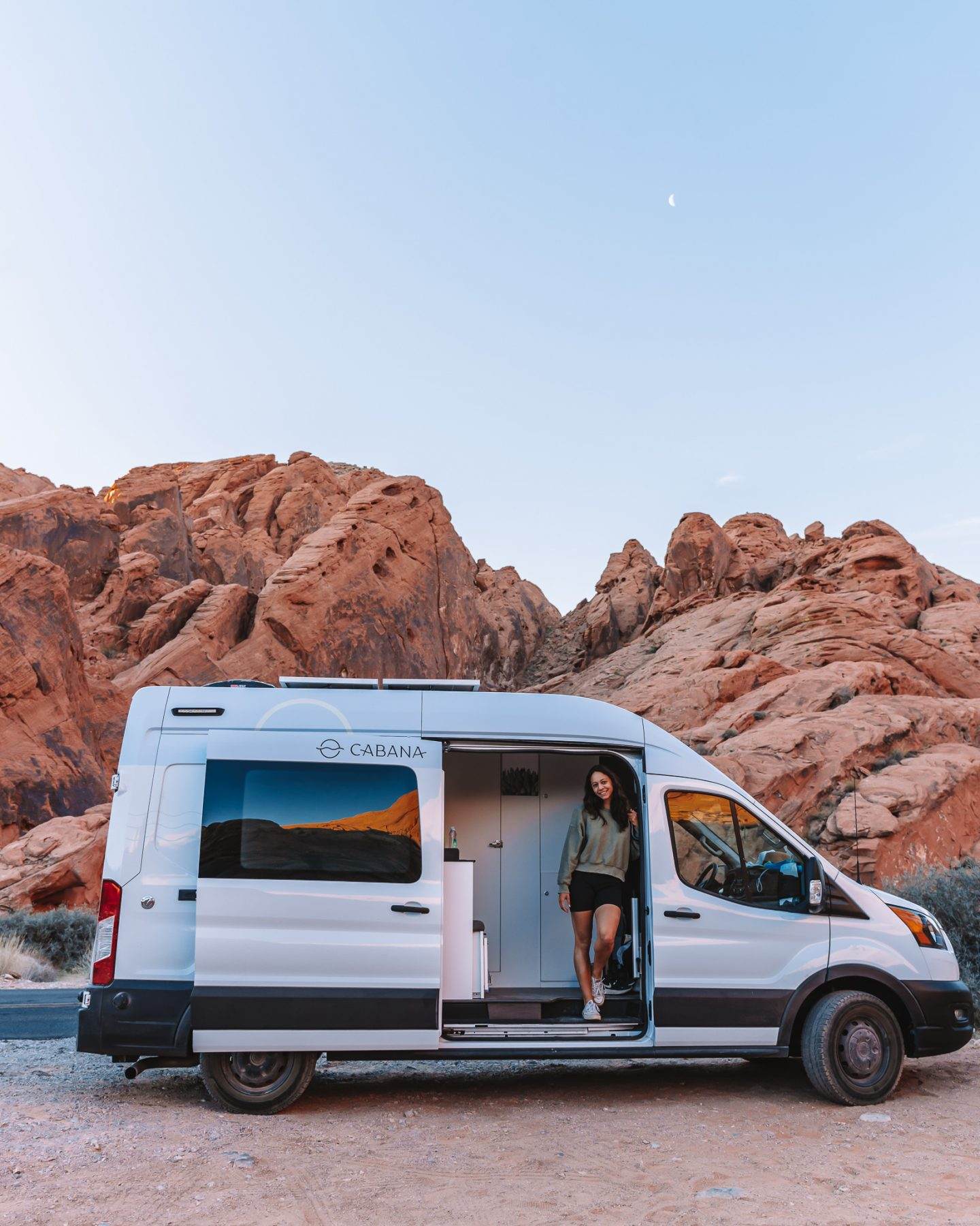 cabana vans campervan rental with girl in valley of fire state park