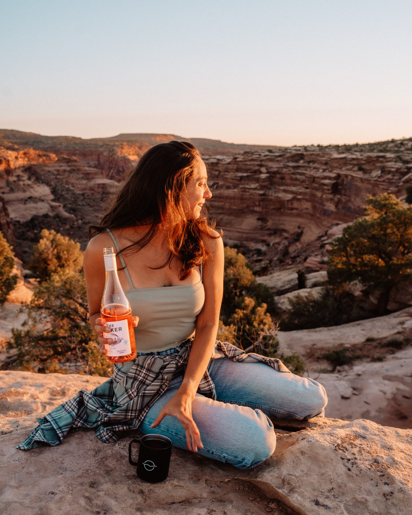 where to camp in moab utah - sunset wine